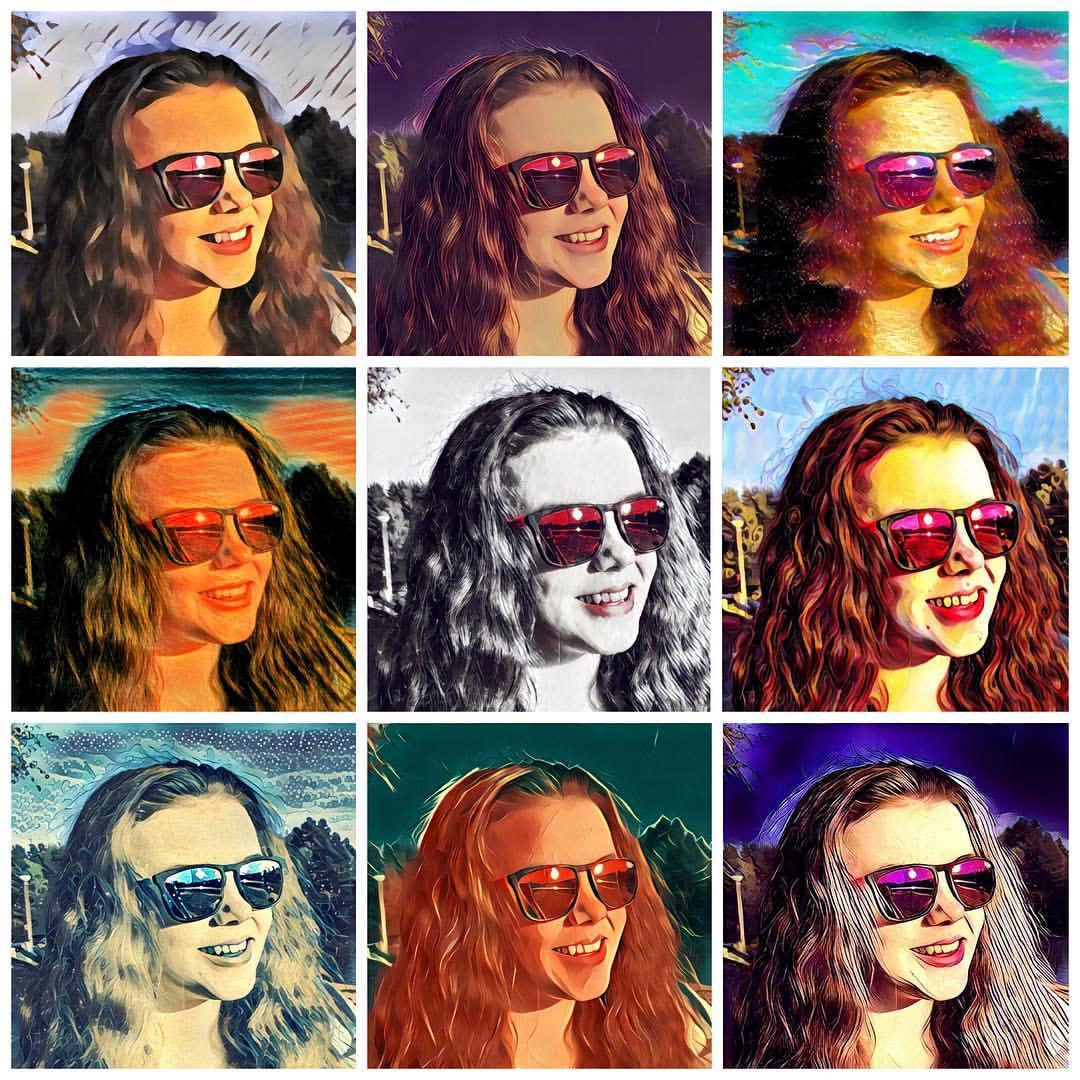 Neun Selfies einer jungen Frau mit Sonnenbrille mit unterschiedlichen Kunstfiltern