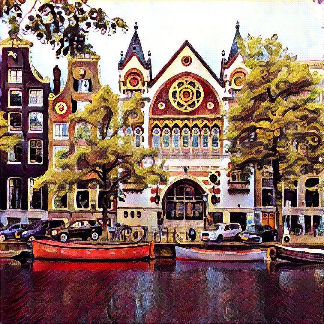 Stadtfoto von Amsterdam mit verfremdenden Farbfilter bearbeitet