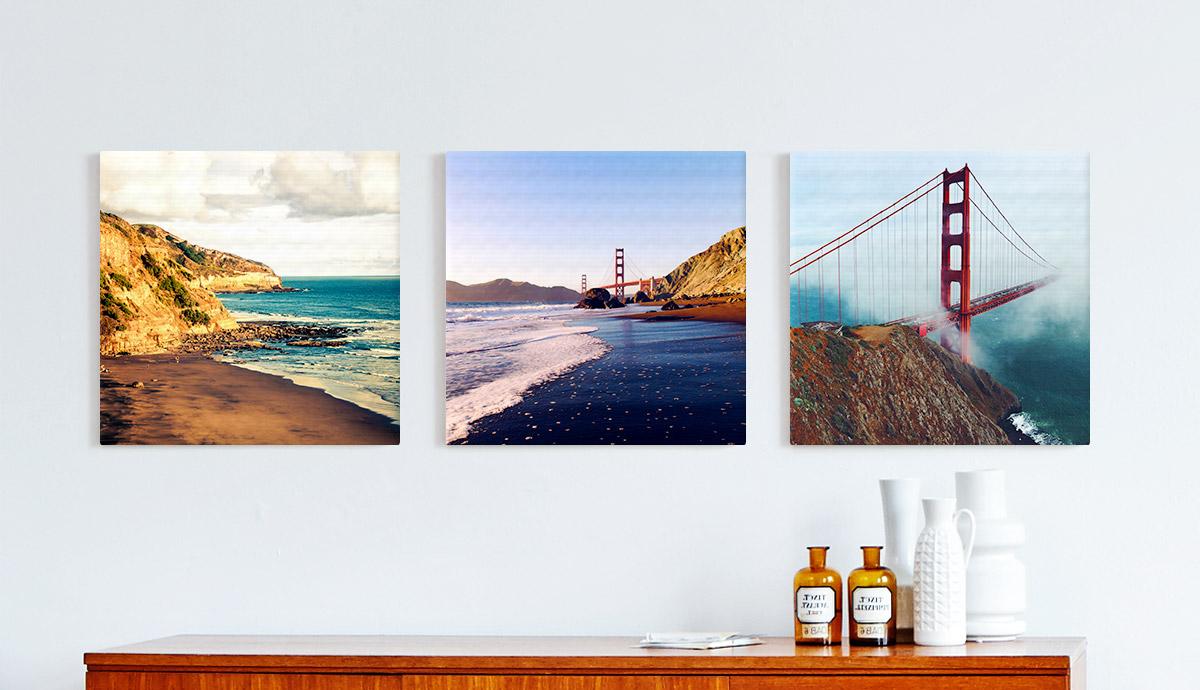 Drei quadratische Bilder mit Motiven von San Francisco, dekorativ aufgehängt