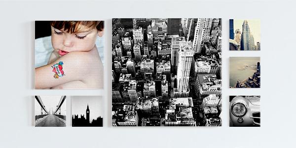 Sieben Bilder auf Leinwand gedruckt, bestehend aus der Porträtaufnahme eines Kindes und diversen Stadtszenen